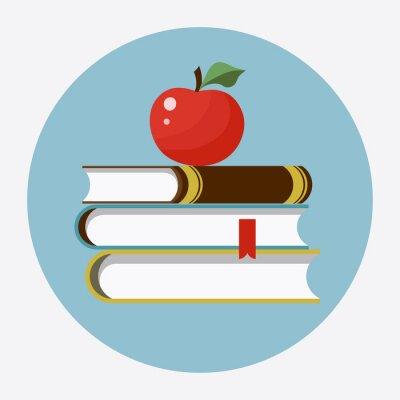 Sticker Bücher mit Apfel flachen Symbol