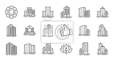 Sticker Buildings line icons. Bank, Hotel, Courthouse. City, Real estate, Architecture buildings icons. Hospital, town house, museum. Urban architecture, city skyscraper. Linear set. Quality line set. Vector