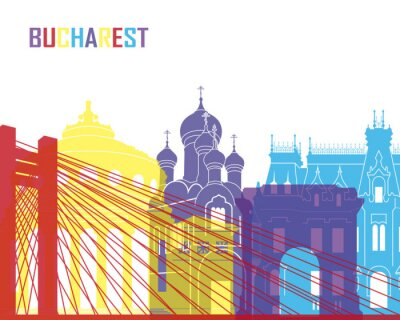 Sticker Bukarest Skyline pop