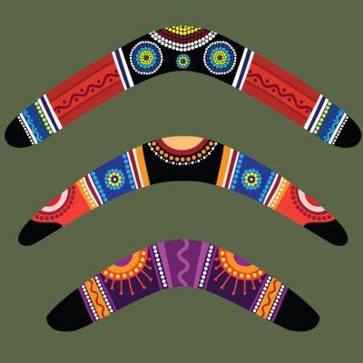 Sticker Bumerangs mit Aborigine-Design