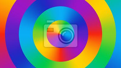 Bunte abstrakte Tapete, die aus heller Steigung farbigen Kreisen besteht. Farbkreis. Spaß, heller, netter Farbenhintergrund. Farbspektrum RGB Kunst.