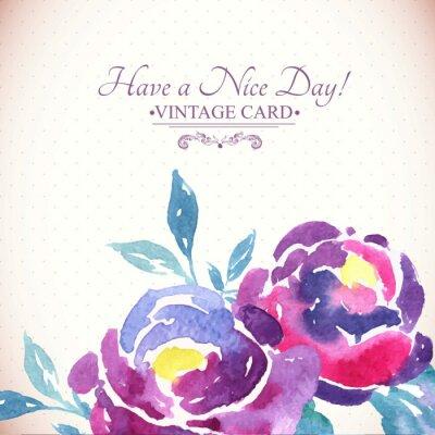 Sticker Bunte Aquarell Rose Blumengruß-Karte