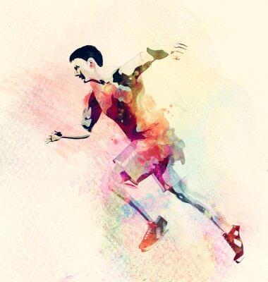Sticker Bunte Aquarellmalerei des Mannes Laufen. Zusammenfassung kreative Sport Hintergrund