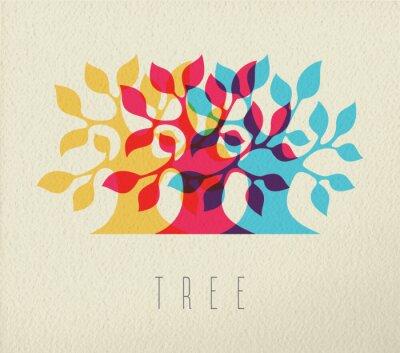 Sticker Bunte Baum Silhouette Konzept Hintergrund
