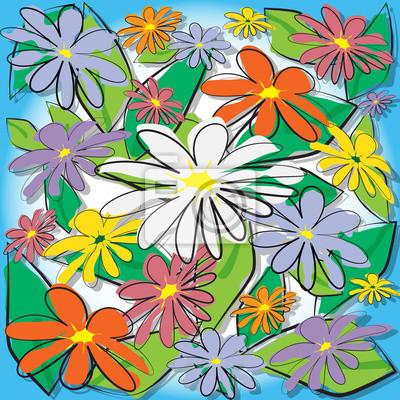 Bunte Blumen Hintergrund, wallpaper Malerei vector