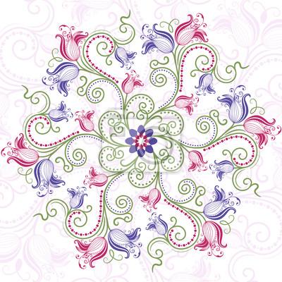 Bunte Blumen runden Rahmen