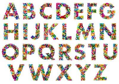 Sticker Bunte Buchstaben des Alphabets in Großbuchstaben