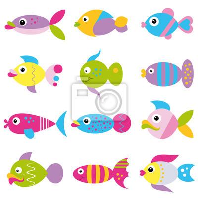 Sticker Bunte Comic Fische Sammlung Funky Muster