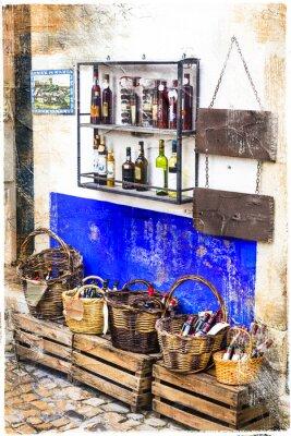 Sticker Bunte Geschäfte der Altstadt Obidos in Portugal, künstlerische Bild