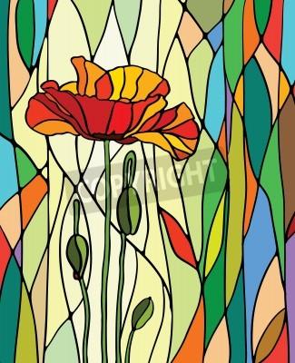 Sticker Bunte Glasfenster mit Blumenmotiv