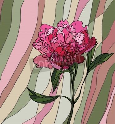 Sticker Bunte Glasfenster mit Blumenmotiv, eine Pfingstrose auf einem bunten gestreiften Hintergrund