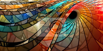 Sticker Bunte Glasmalerei Spirale