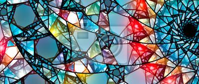 Sticker Bunte glühende Glasmalerei