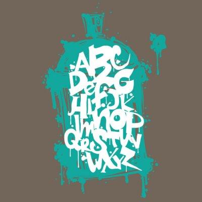 Sticker Bunte Graffiti-Schriftart Buchstaben des Alphabets. Hip-Hop-Graffiti-Design