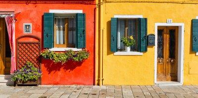 Sticker Bunte Hausfassade in Burano, Italien