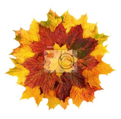 Sticker Bunte Herbstblätter ALS Blume geformt