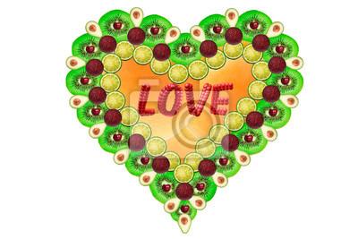 Sticker Bunte Herzen mit Früchten
