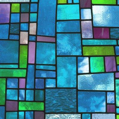 Sticker Bunte Kirchen blauen Glasfenster, quadratischen Format
