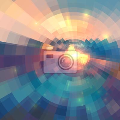 Sticker Bunte konzentrisch glänzende Mosaik Vektor abstrakten Hintergrund