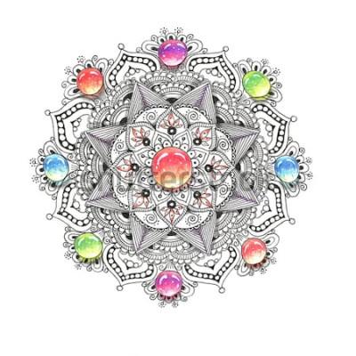 Sticker Bunte Mandala des Aquarells mit Juwelsteinen. Schönes Vintages rundes Muster. Hand gezeichneter abstrakter Hintergrund. Einladung, T-Shirt Druck, Hochzeitskarte. Dekor für Ihr Design im orientalischen