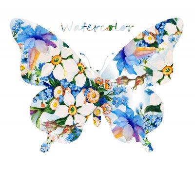 Sticker Bunte Schmetterling auf weißem Hintergrund