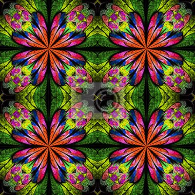 Bunte symmetrisches Muster in Glasmalerei Stil.