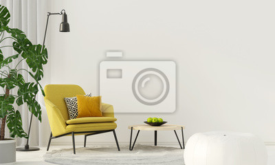 Sticker Buntes Interieur mit einem gelben Sessel