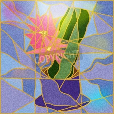 Sticker Buntglasfenster, das eine Blume Illustration
