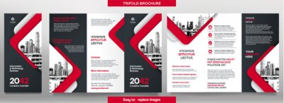 Sticker Business Brochure Template in Tri Fold Layout. Corporate Design Leaflet with replacable image.