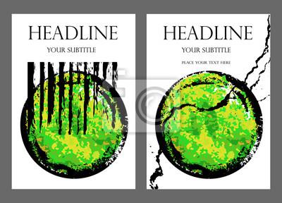 Business-Broschüre Vorlage. Vektor-Flyer, Größe A4. Set von künstlerischen universellen Karten. Hand gezeichnet Grunge Texturen. Entwurf für Postkarte, Einladung, Schild. Kreative grün abstrakten Hint