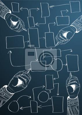 Business Hand schreiben Prozessablaufdiagramm. Vektor-Illustration