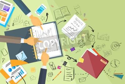 Business-leute, arbeiten, finanzen, diagramm, skizze, schreibtisch ...
