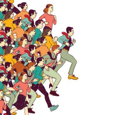 Sticker Business-Leute große Gruppe Wettbewerb Farbe