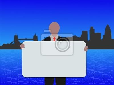 Business-Mann mit Zeichen und London Skyline illustration