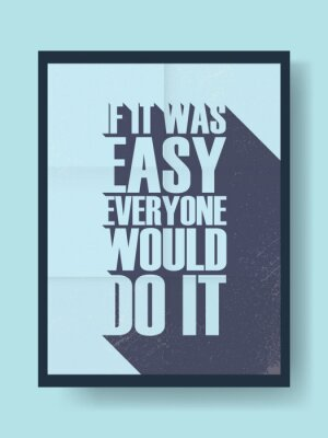 Sticker Business-Motivationsposter über harte Arbeit versus Faulheit auf Vintage-Vektor-Hintergrund. Lange Schatten-Typografie-Nachricht