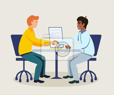 Business partners making agreement illustration