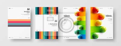 Sticker Business presentation vector A4 vertical orientation front page mock up set. Corporate report cover abstract geometric illustration design layout bundle. Company identity brochure template collection.