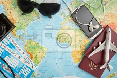 Sticker Business Travel Reisen Karte Welt Konzept.