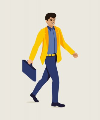 Businessman hurrying up to office illustration