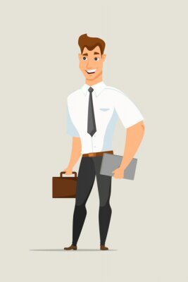 Businessman with briefcase flat vector character
