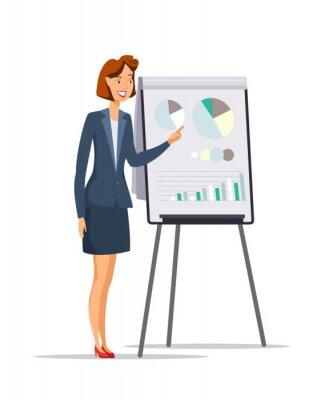 Businesswoman giving presentation flat character