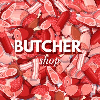 Butcher shop cartoon vector template