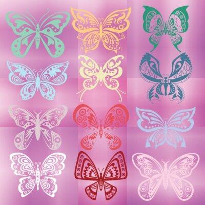 Butterfly-Set isoliert auf bunten violetten Hintergrund
