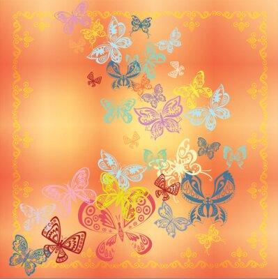 Butterfly-Set isoliert auf orange Hintergrund
