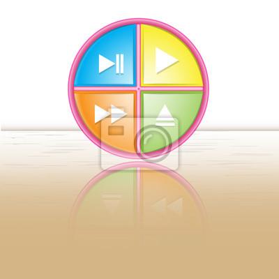 Button-Symbol, Hintergrund mit Reflexion