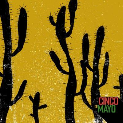 Cactus background. Cinco de Mayo holiday card. Grunge monochrome background.