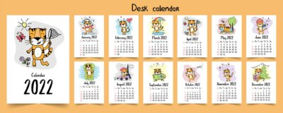 Sticker Calendar template 2022 new year with many different simple doodle colored seasonal illustrations for each month with cartoon symbol of the year - tiger Vector.
