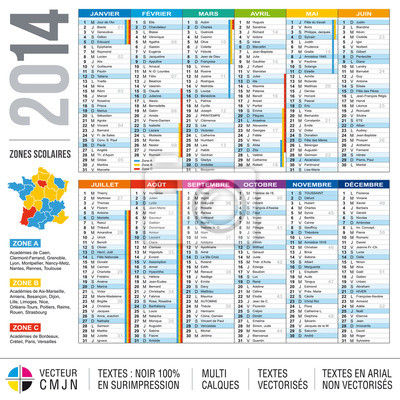 Calendrier 2014 avec carte des Zonen scolaires et académies