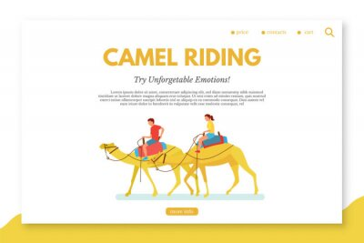Camel riding flat vector landing page template