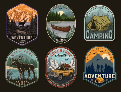 Sticker Camping and national park vintage labels